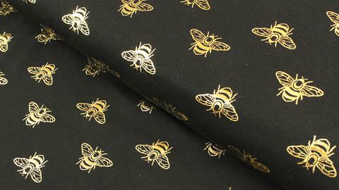 Baumwolljersey schwarz-gold: Metallic Bienen - 150 cm kaufen im Makerist Materialshop