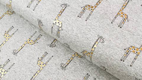 Baumwoll-Mischgewebestoff grau-meliert-gold: Goldene Giraffe - 150 cm kaufen im Makerist Materialshop