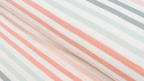 Modalstoff weiß-rosa-mint: Streifen - 150 cm kaufen im Makerist Materialshop