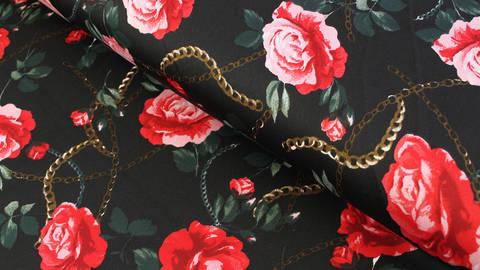 Satin schwarz matt: Rosen - 146 cm kaufen im Makerist Materialshop