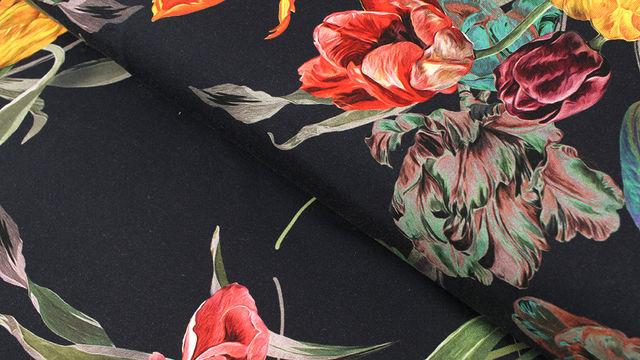 Baumwolljersey navy: Tulpenstrauß - 150 cm - Stoffe kaufen im Makerist Materialshop
