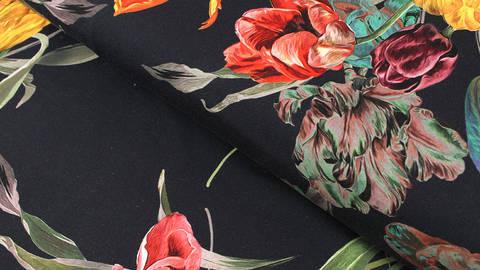 Baumwolljersey navy: Tulpenstrauß - 150 cm kaufen im Makerist Materialshop