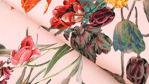 Baumwolljersey altrosa: Tulpenstrauß - 150 cm kaufen im Makerist Materialshop