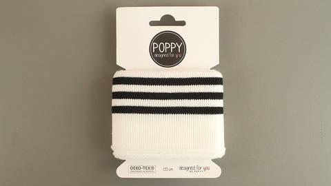 Bündchen schwarz-wollweiß Streifen: elastische Cuffs kaufen im Makerist Materialshop