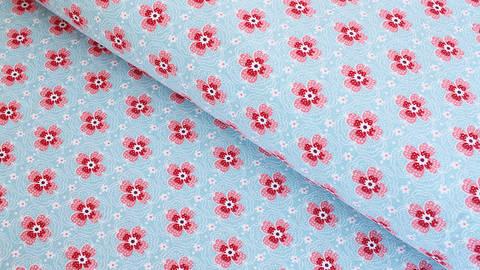 Baumwolljersey hellblau: Kleine Blüten - 150 cm kaufen im Makerist Materialshop