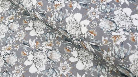 Baumwollstoff grau-blau: Weiße Blüte - 160 cm kaufen im Makerist Materialshop