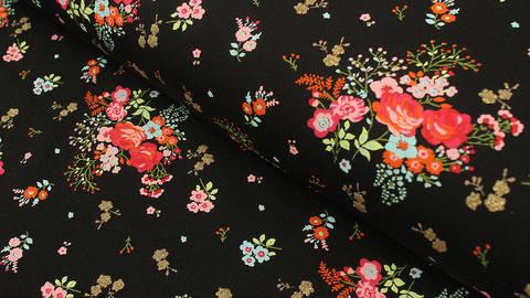 Baumwolljersey schwarz: Glitzerndes Blumenfeld - 150 cm  kaufen im Makerist Materialshop