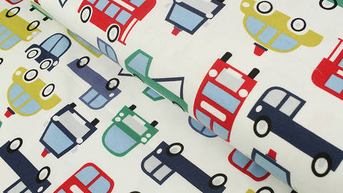 Baumwolljersey weiß: Avalana Fahrzeuge - 160 cm im Makerist Materialshop