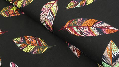 Viskosestoff schwarz: Federkunst - 150 cm kaufen im Makerist Materialshop