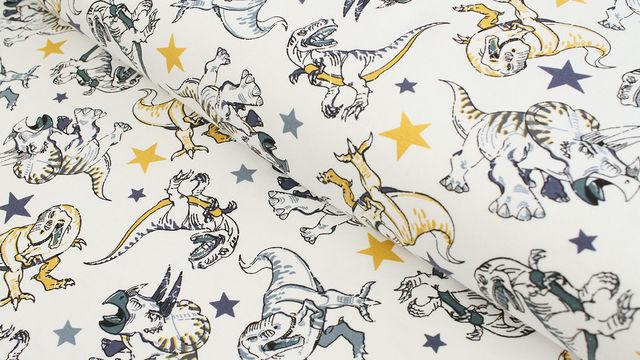 Baumwolljersey weiß: Avalana Dinosaurier  - 162 cm - Stoffe kaufen im Makerist Materialshop