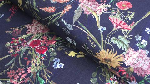 Viskosestoff navy: Blumenstrauß -  140 cm  kaufen im Makerist Materialshop