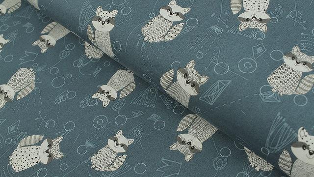 Baumwollstoff petrol: Rocky Raccoon - 112 cm - Stoffe kaufen im Makerist Materialshop