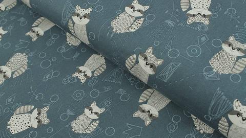 Baumwollstoff petrol: Rocky Raccoon - 112 cm kaufen im Makerist Materialshop