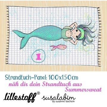 Lillestoff Rapport Bio-Summersweat: Strandtuch Meerjungfrau 1 - 150 cm - Stoffe kaufen im Makerist Materialshop