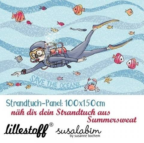 Lillestoff Rapport Bio-Summersweat: Strandtuch Taucher - 150 cm im Makerist Materialshop