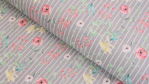 Baumwollstoff grau-weiß gestreift: Wildblumen - 145 cm im Makerist Materialshop