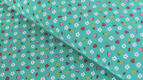 Baumwolljersey dunkelmint: Blumen und Früchte - 150 cm kaufen im Makerist Materialshop