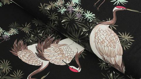 Baumwolljersey schwarz: Avalana Kranich - 162 cm kaufen im Makerist Materialshop