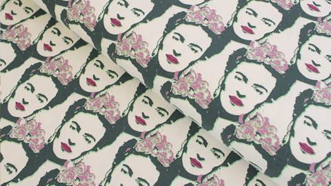 Baumwolljersey offwhite grün lila: Frida Kahlo - 150 cm kaufen im Makerist Materialshop