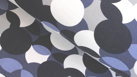 Baumwolljersey blau weiß: Avalana Kreise - 162 cm im Makerist Materialshop