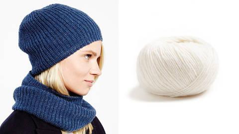 Snood und Mütze Strickset 00 - natur kaufen im Makerist Materialshop