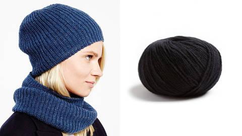 Snood und Mütze Strickset 01 - schwarz kaufen im Makerist Materialshop
