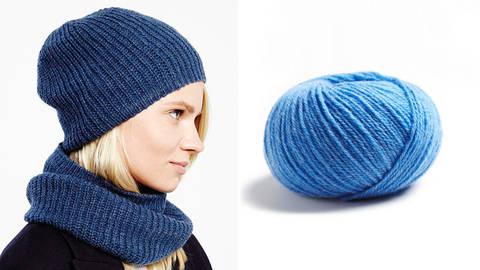 Snood und Mütze Strickset 12M - jeans kaufen im Makerist Materialshop