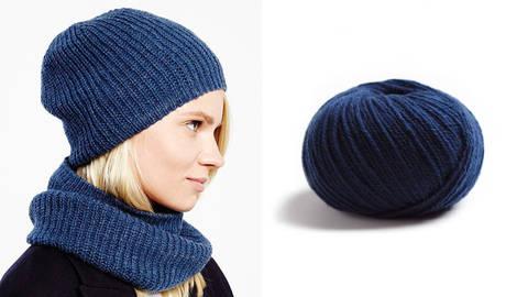 Snood und Mütze Strickset 11 - marineblau kaufen im Makerist Materialshop