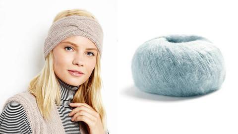 Stirnband Strickset 36 - taubenblau kaufen im Makerist Materialshop