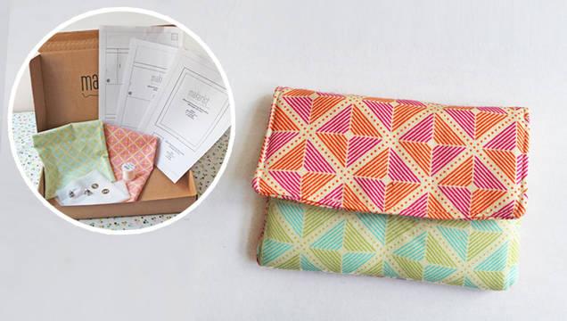 kleines portemonnaie selber n hen mit der komplett box bunte quadrate von makerist. Black Bedroom Furniture Sets. Home Design Ideas