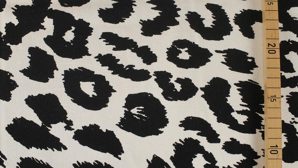 Sweatstoff ecru-schwarz: Leopardenmuster - 160 cm im Makerist Materialshop - Bild 3