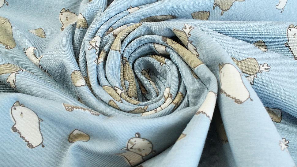 Baumwolljersey rauchblau: Avalana Wildtiere - 160 cm im Makerist Materialshop - Bild 5