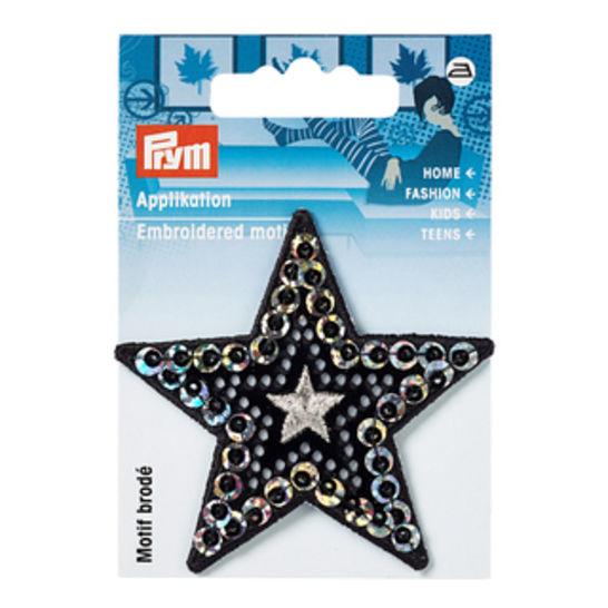 Applikation Stern mit Pailletten schwarz/silber kaufen im Makerist Materialshop