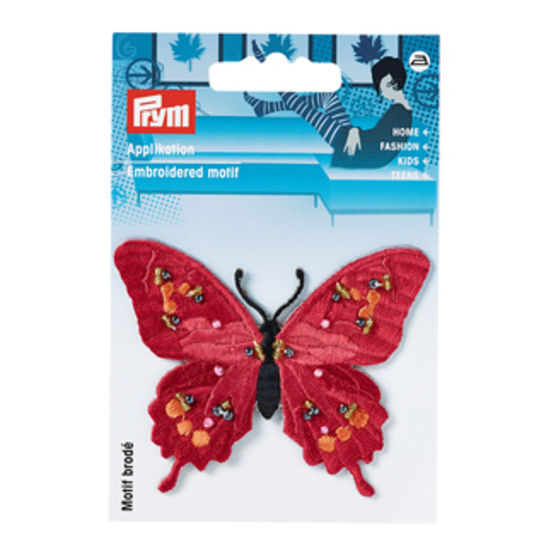 Applikation Schmetterling exklusiv rot mit Perlen kaufen im Makerist Materialshop