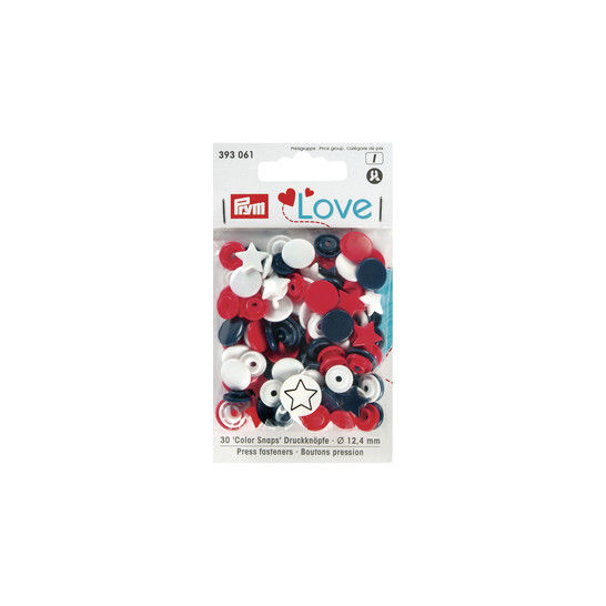 Prym Love Druckknopf Color Stern 12,4 mm rot/weiß/marine kaufen im Makerist Materialshop