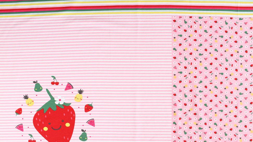 Baumwolljersey Rapport rosa weiß: Bunte Früchte - 150 cm im Makerist Materialshop - Bild 2