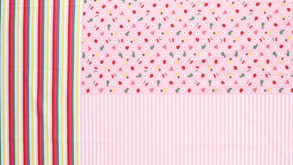 Baumwolljersey Rapport rosa weiß: Bunte Früchte - 150 cm im Makerist Materialshop - Bild 3