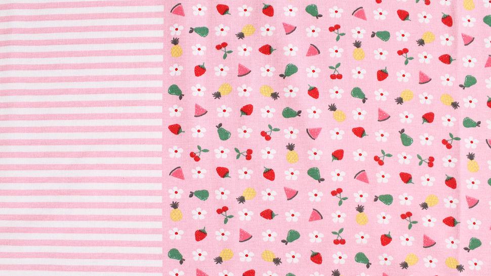 Baumwolljersey Rapport rosa weiß: Bunte Früchte - 150 cm im Makerist Materialshop - Bild 4