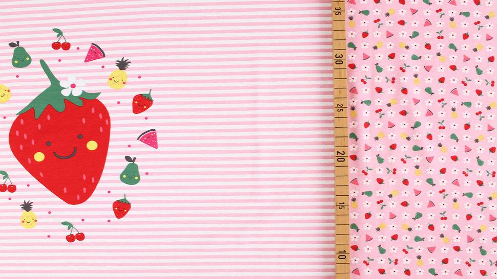 Baumwolljersey Rapport rosa weiß: Bunte Früchte - 150 cm im Makerist Materialshop - Bild 5
