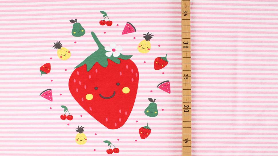 Baumwolljersey Rapport rosa weiß: Bunte Früchte - 150 cm im Makerist Materialshop - Bild 6