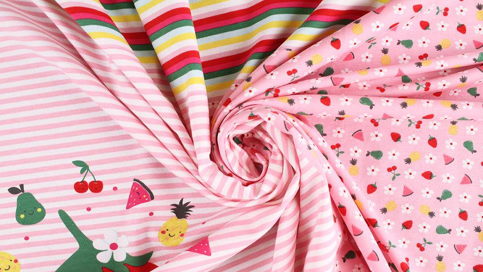 Baumwolljersey Rapport rosa weiß: Bunte Früchte - 150 cm im Makerist Materialshop - Bild 7