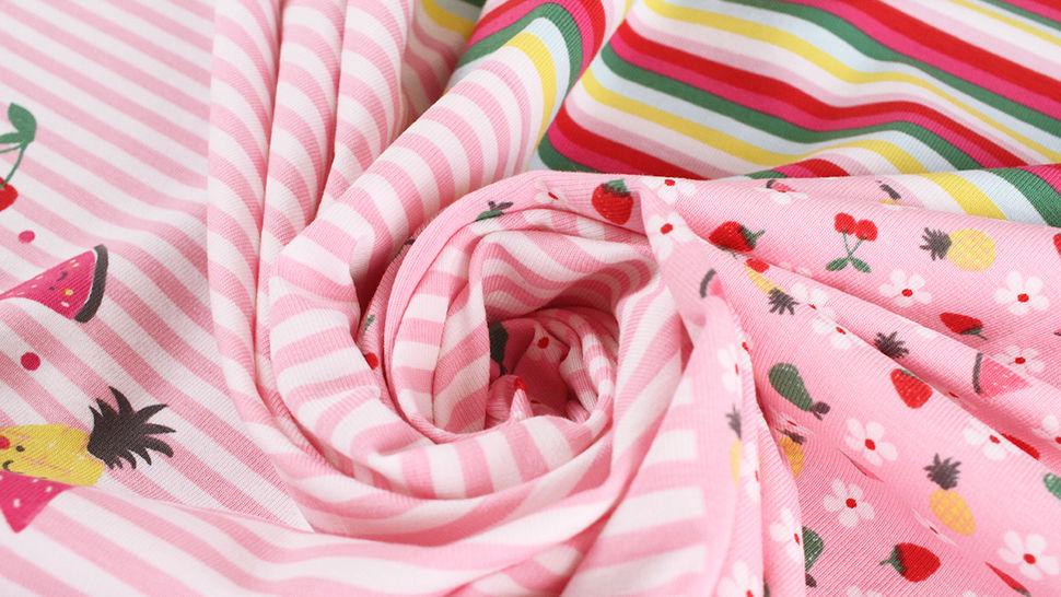 Baumwolljersey Rapport rosa weiß: Bunte Früchte - 150 cm im Makerist Materialshop - Bild 8