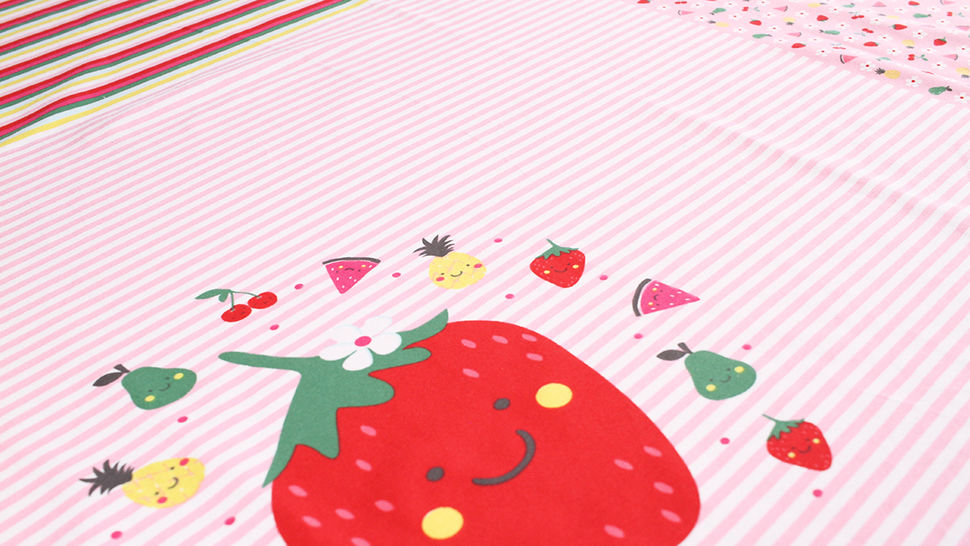 Baumwolljersey Rapport rosa weiß: Bunte Früchte - 150 cm im Makerist Materialshop - Bild 9
