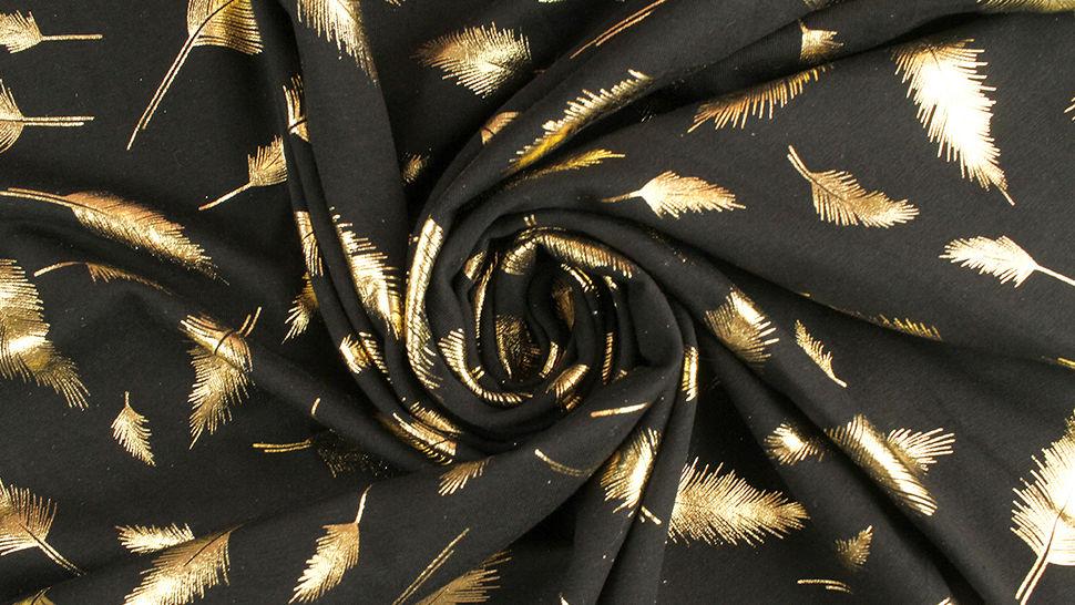 Baunwolljersey schwarz-gold: Metallic Federn - 150 cm 4 kaufen im Makerist Materialshop