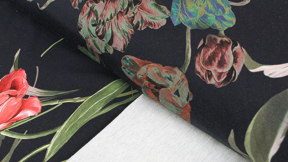 Baumwolljersey navy: Tulpenstrauß - 150 cm 1 kaufen im Makerist Materialshop