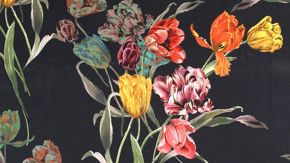 Baumwolljersey navy: Tulpenstrauß - 150 cm 2 kaufen im Makerist Materialshop