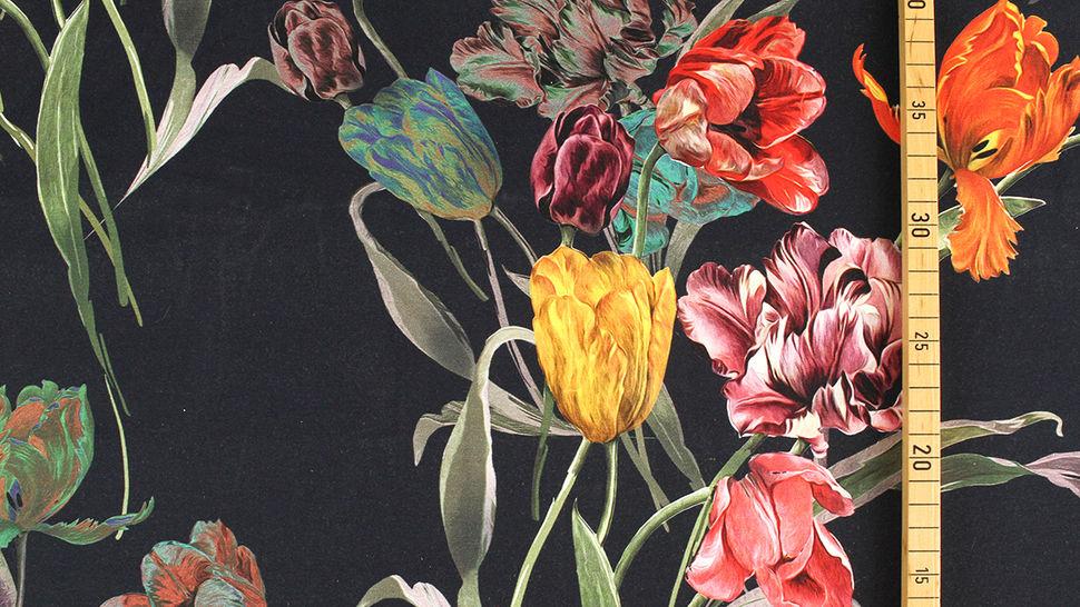 Baumwolljersey navy: Tulpenstrauß - 150 cm 3 kaufen im Makerist Materialshop