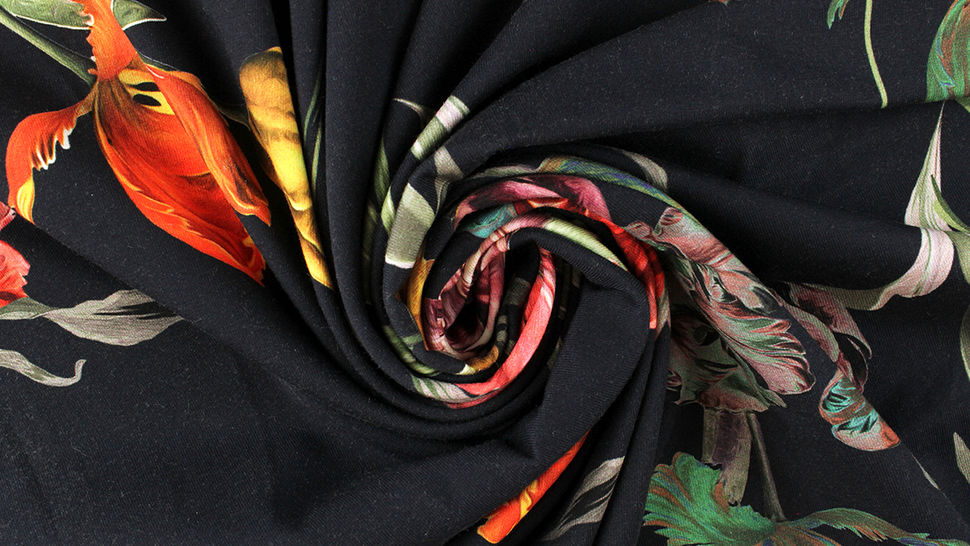 Baumwolljersey navy: Tulpenstrauß - 150 cm 4 kaufen im Makerist Materialshop
