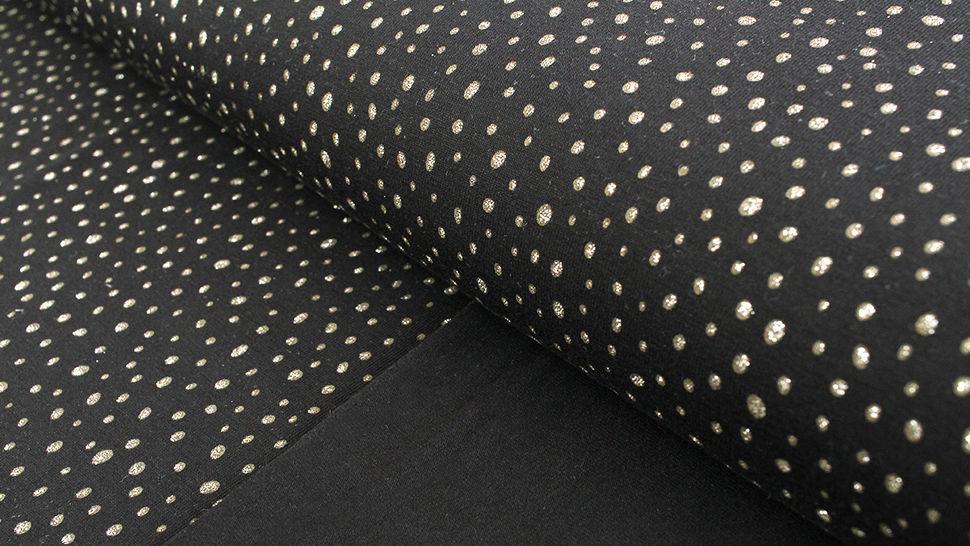 Baumwolljersey schwarz: Glitzer Pünktchen - 150 cm kaufen im Makerist Materialshop