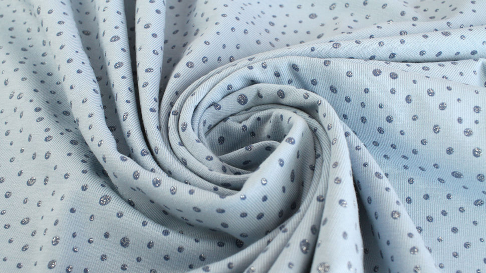 Baumwolljersey hellblau: Glitzer Pünktchen - 150 cm kaufen im Makerist Materialshop